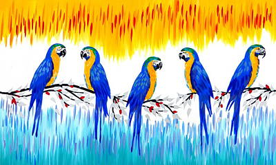 Macaw Painting - Macaws by Cathy Jacobs