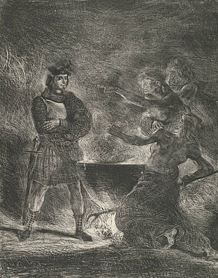 Relief - Macbeth Consulting The Witches by Eugene Delacroix