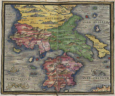 Photograph - Macedonia And Greece Map By Johannes Honter 1542 by Rick Bures