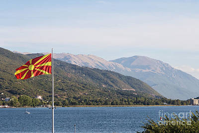 Photograph - Macedonia Flag Above The Ohrid Lake by Didier Marti