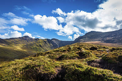 Art Print featuring the photograph Macgillycuddy's Reeks And Valleys In Kerry In Ireland  by Semmick Photo
