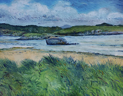 Painting - Macheraclogher Beach Ireland 2017 by Enver Larney