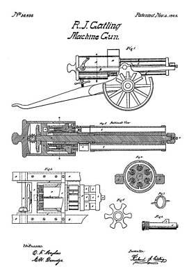 Drawing Digital Art - Machine Gun - Patent Drawing For The 1862 Machine Gun By R. J. Gatling by Jose Elias - Sofia Pereira