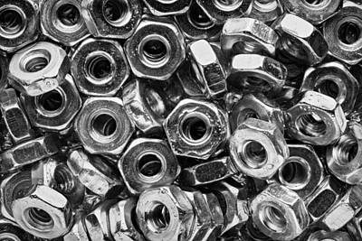 Machine Screw Nuts Macro Horizontal Print by Steve Gadomski