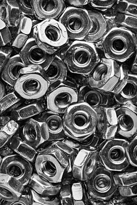 Machine Screw Nuts Macro Vertical Print by Steve Gadomski