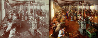 Photograph - Machinist - Hands On Work 1904 Side By Side by Mike Savad