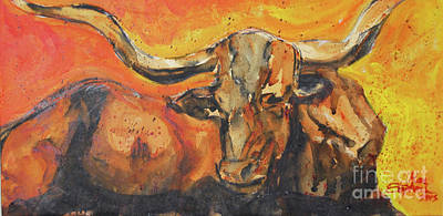 Painting - Macho Longhorn by Ron Stephens