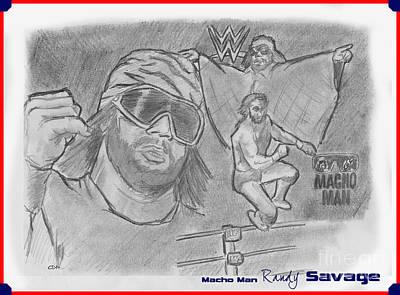 Randy Savage Drawing - Macho Man Randy Savage by Chris  DelVecchio