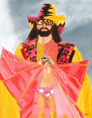 Randy Macho Man Savage Painting - Macho Man Randy Savage Wwe Portrait by Derek Clendening