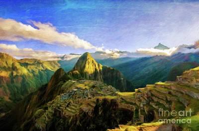 Macho Painting - Machu Picchu By Sarah Kirk by Sarah Kirk
