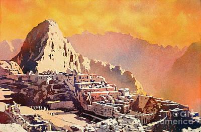 Print featuring the painting Machu Picchu Sunset by Ryan Fox