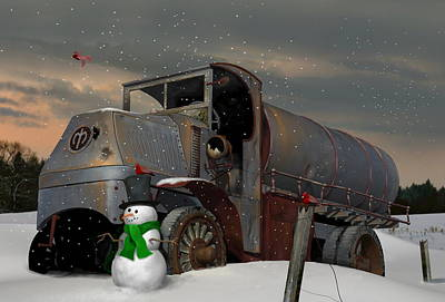 Digital Art - Mack Ac With Snowman by Stuart Swartz