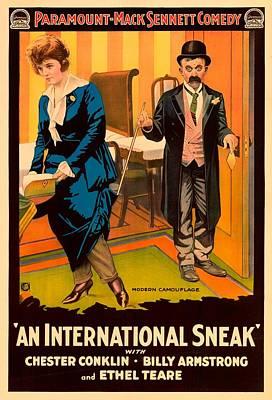 Silent Movie Star Mixed Media - Mack Sennett Comedy - An International Sneak 1917 by Mountain Dreams