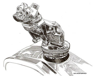 Drawing - Mack Truck Bulldog Mascot by Jack Pumphrey