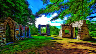 Gatineau Park Digital Art - Mackenzie King Estates Ruins by Jean-Marc Lacombe