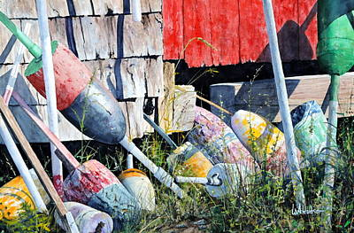 Painting - Mackerel Cove Buoys by Bill Hudson