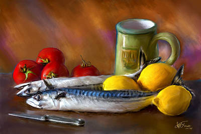 Mackerels, Lemons And Tomatoes Art Print