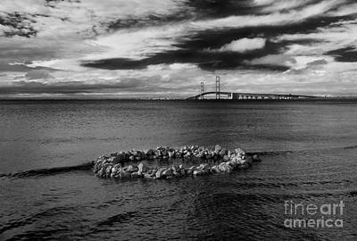 Photograph - Mackinac Bridge - Infrared 03 by Larry Carr
