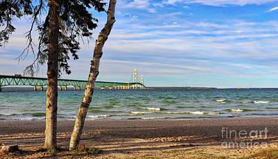 Photograph - Mackinac Bridge  4281b by Jack Schultz