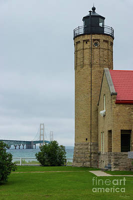 Photograph - Mackinac Bridge And Lighthouse by Jennifer White