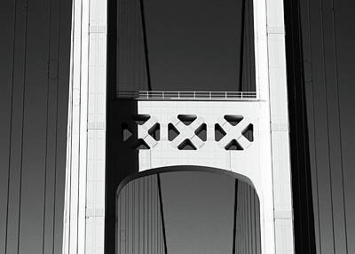 Photograph - Mackinac Bridge Detail 2 High Contrast Bw by Mary Bedy