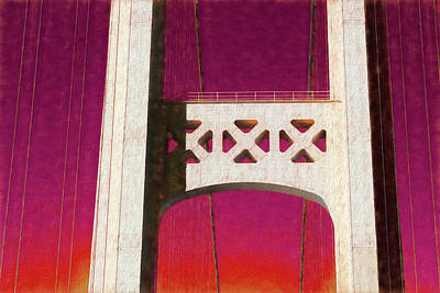 Photograph - Mackinac Bridge Detail 3 Red Sky by Mary Bedy