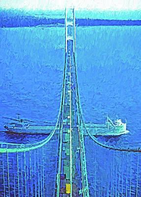 Digital Art - Mackinac Bridge Freighter by Dennis Cox Photo Explorer