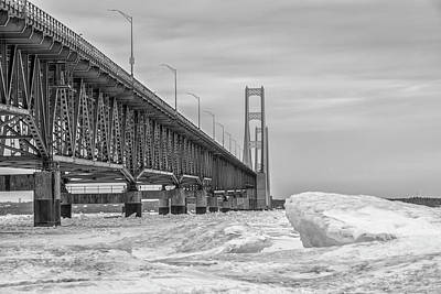 Print featuring the photograph Mackinac Bridge Icy Black And White  by John McGraw