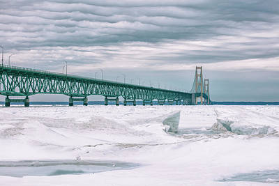 Print featuring the photograph Mackinac Bridge In Winter During Day by John McGraw