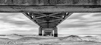 Photograph - Mackinac Bridge In Winter Underneath  by John McGraw