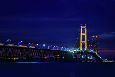 Photograph - Mackinac Bridge Lights At Night by Dan Sproul