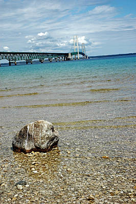 Photograph - Mackinac Bridge Rocks by LeeAnn McLaneGoetz McLaneGoetzStudioLLCcom