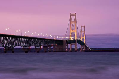 Mackinaw City Photograph - Mackinac Bridge Sunset by James Marvin Phelps