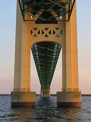 Photograph - Mackinac Bridge Tower At Sunset by Keith Stokes