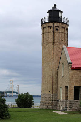 Photograph - Mackinac Point Light And Bridge by Mary Bedy