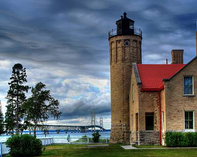 Mackinaw Bridge And Lighthouse Art Print