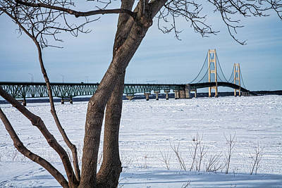 Photograph - Mackinaw Bridge By The Straits Of Mackinac In Winter by Randall Nyhof