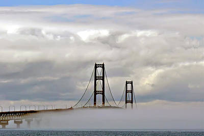 Riverstone Gallery Photograph - Mackinaw Bridge Fog In Color by Gregory Steele