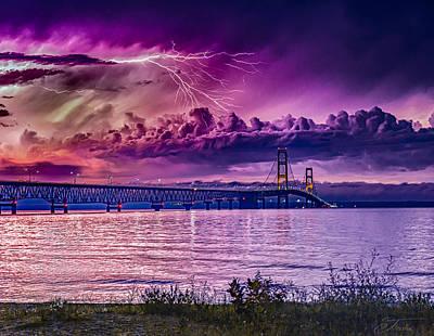 Wall Art - Photograph - Mackinaw Mackinac Bridge Lightning Storm Over The Mackinaw Bridge Michigan by J Thomas