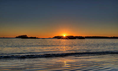 Orange Sun Photograph - Mackinsie Beach Sun Burst by Mark Kiver