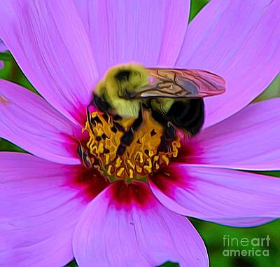 Photograph - Macro Of Bee On A Cosmos Flower Expressionist Effect by Rose Santuci-Sofranko