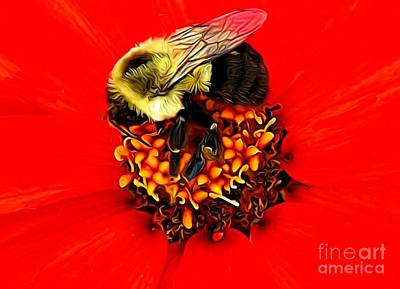 Photograph - Macro Of Bee On A Red Zinnia Flower Expressionist Effect by Rose Santuci-Sofranko