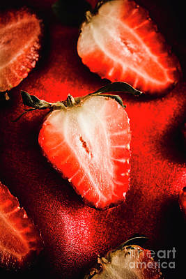 Macro Shot Of Ripe Strawberry Art Print