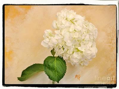Mixed Media - Macro White Hydrangea by Marsha Heiken