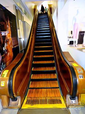 Digital Art - Macy's Wooden Escalator by Ed Weidman