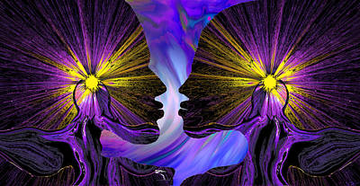 Imagination Digital Art - Mad Angel Lovers Silhouette by Abstract Angel Artist Stephen K