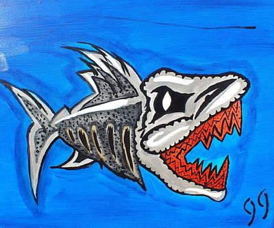 Piranha Painting - Mad Fish by Jeff Harris