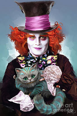 Johnny Depp Painting - Mad Hatter And Cheshire Cat by Melanie D