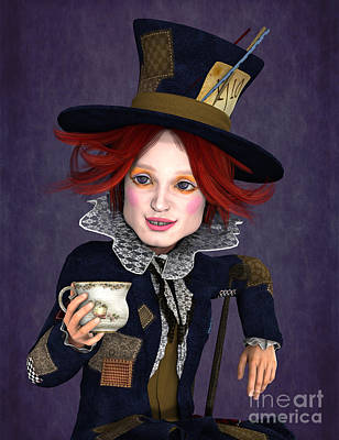 Painting - Mad Hatter Portrait by Methune Hively