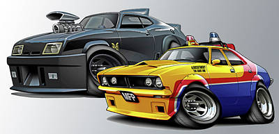Mad Max Falcon And Interceptor Print by Maddmax